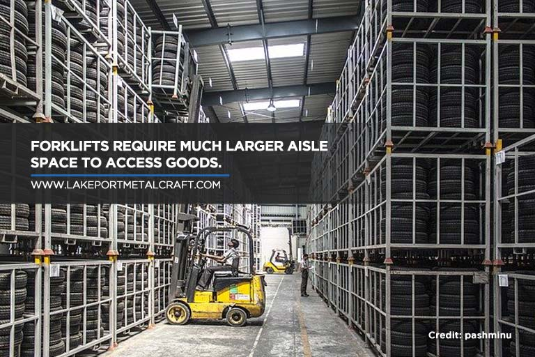 Forklifts require much larger aisle space to access goods.