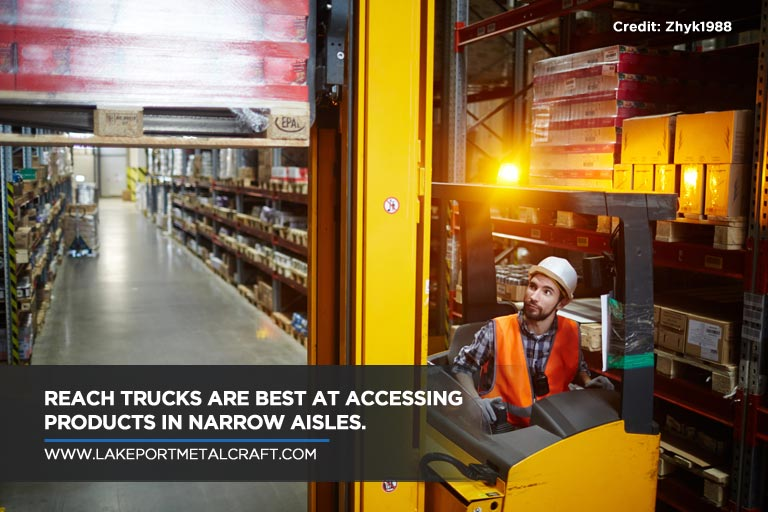 Reach trucks are best at accessing products in narrow aisles.