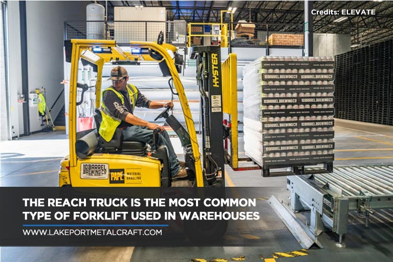 The reach truck is the most common type of forklift used in warehouses